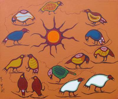 Blake Debassige, 1977, Birds Eating